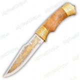 """Нож """"НС-34"""" украшенный. Рукоять березовый кап. Золочение"""
