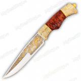 """Нож """"НС-53"""" подарочный. Рукоять березовый кап. Золочение"""