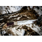 """Нож """"НС-05"""" подарочный. Рукоять березовый кап. Золочение. Литье конь"""
