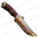"""Нож """"Попутчик"""". Вариант Люкс в металлических ножнах. Рукоять палисандр. Вариант 1"""