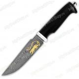 """Нож """"Барс"""". Вариант Престиж+. Дамаск. Золочение"""