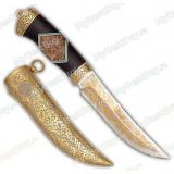 """Нож """"Гадюка"""" подарочный. Рукоять карельская береза стаб., граб, фибра. Золочение. Цельнометаллические ножны"""