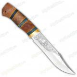 """Нож """"Акела"""". Рукоять комбинированная люкс: карельская береза, орех. Латунь"""