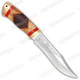 """Нож """"Акела"""". Рукоять комбинированная люкс: карельская береза, орех. Больстер и тыльник латунь"""