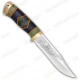 """Нож """"Койот"""". Рукоять комбинированная люкс: стабилизир. карельская береза, граб, фибра. Латунь"""