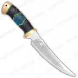 """Нож """"Гюрза"""". Рукоять комбинированная люкс: карельская береза стабилизированная, граб, фибра. Латунь"""