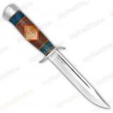 Нож разведчика. Рукоять комбинированная люкс: карельская береза стабилизированная, орех, фибра. Алюминий