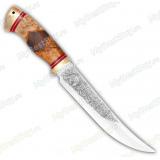 """Нож """"Бивень"""". Рукоять комбинированная люкс: карельская берез, орех. Латунь"""