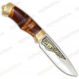"""Нож """"Бизон"""" подарочный. Рукоять кап березовый. Золочение"""