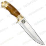 """Нож """"Турист-1"""" подарочный. Рукоять орех. Золочение. Символика морской пехоты"""
