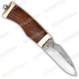 "Нож ""Белёк"". Рукоять орех. Рог лося. Дамаск"