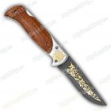 """Нож складной """"Ахиллес"""". Дамаск. Золочение клинка"""