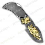 """Нож складной """"Бобр"""". Дамаск. Золочение"""