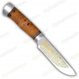 """Нож """"Легенда 2"""". Рукоять береста. Алюминий. Золочение"""