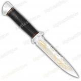 """Нож """"Диверсант"""". Рукоять кожа. Пила. Алюминий. Золочение клинка"""
