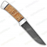 "Нож ""Н14"". Рукоять береста. Алюминий. Дамаск"
