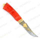 """Нож """"Н27"""" украшенный. Рукоять стабилизированная карельская береза. Дамаск. Золочение"""