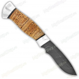 "Нож ""Н31"". Рукоять береста. Алюминий. Дамаск"