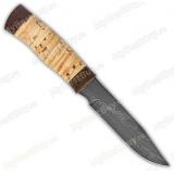 "Нож ""Н33"". Рукоять береста. Дамаск"