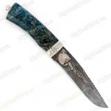 """Нож """"Н64"""". Рукоять стабилизированная карельская береза. Дамаск"""