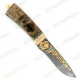 """Нож """"Н6"""" украшенный. Рукоять стабилизированная карельская береза. Дамаск. Золочение"""