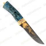 """Нож """"Н8"""" украшенный. Рукоять стабилизированная карельская береза. Дамаск. Золочение"""
